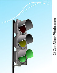 Set of traffic lights Red signal Yellow signal Green signal...