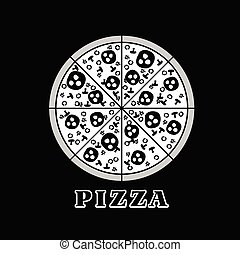 pizza italy illustration in black and white