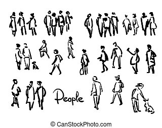 People sketch. Outline hand drawing illustration