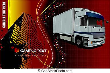 Vector illustration of silver  truck