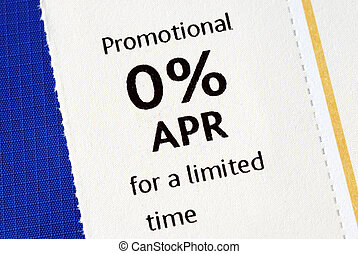 Promotional 0% APR offer isolated on blue