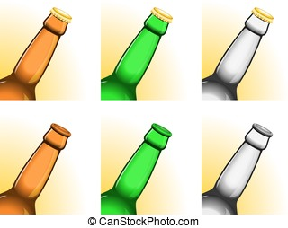 Tilted beer bottle necks - Set of six tilted beer bottle...