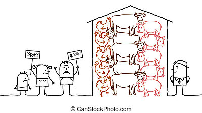 cartoon people saying NO to intensive  production of meat
