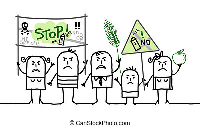 cartoon group of people protesting against  toxic agriculture industry