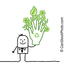 businessman with big green hand