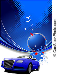 Blue abstract background with car image. Vector illustration