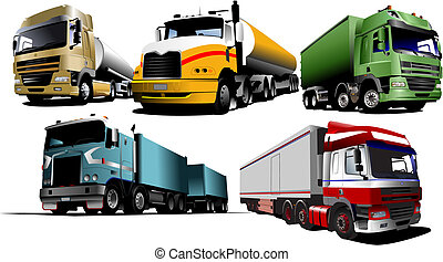 Five trucks on the road. Vector illustration