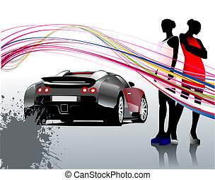 Car sedan and two girls composition Vector illustration