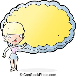 cartoon woman with space text cloud - cartoon woman...