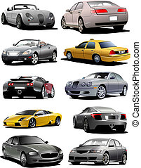Ten  cars on the road. Vector illustration
