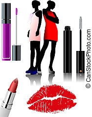 Women's makeup equipment. Three Lipstick. Vector...