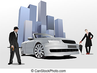 Gentleman and lady  with umbrella on the blue city background. Vector illustration