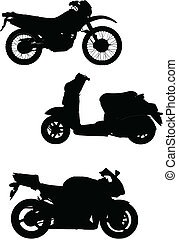 Three vector illustrations of motorcycle Help for designers
