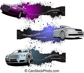 Three grunge Banners with cars. Vector illustration