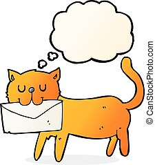 cartoon cat carrying letter with thought bubble