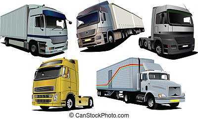 Vector illustration of five trucks.