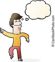 cartoon worried man pointing with thought bubble