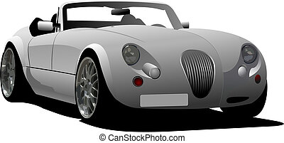 car cabriolet on the road Vector illustration