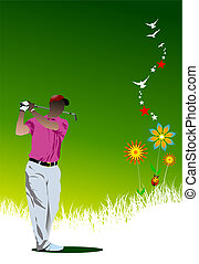 Golf player on summer background Vector illustration