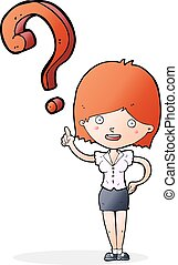 cartoon woman asking question