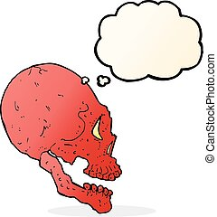 red skull illustration with thought bubble