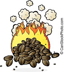 roasting coffee beans cartoon