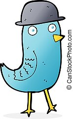 cartoon bluebird wearing hat
