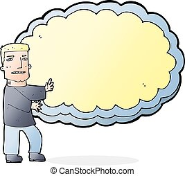 cartoon man presenting text space cloud