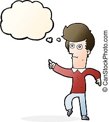 cartoon man pointing with thought bubble