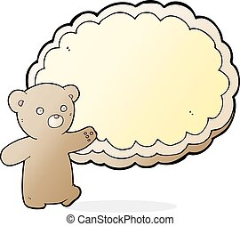 cartoon bear with text space cloud