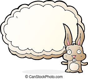 cartoon rabbit with text space cloud