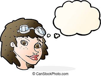 cartoon happy woman wearing aviator goggles with thought...