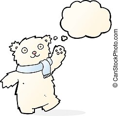cartoon teddy bear wearing scarf with thought bubble