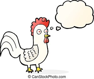 cartoon rooster with thought bubble