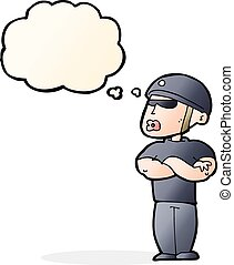 cartoon security guard with thought bubble