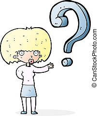 cartoon woman with question