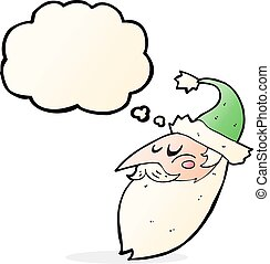 cartoon santa face with thought bubble