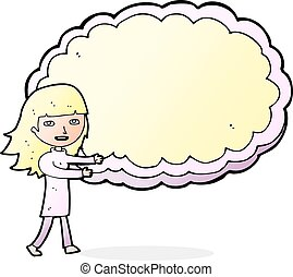 cartoon girl with cloud text space - cartoon girl presenting...