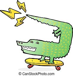 amazing skateboarding alligator