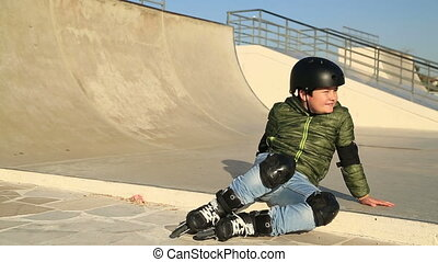 Young  skater smiling to camera