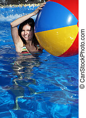 Fun in the swimming pool - A very attractive young woman...