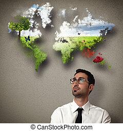 ビジネスマン, 想像する, きれいにしなさい, 世界