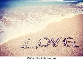 amor, inscrito, en, el, arena, de, Un, playa,