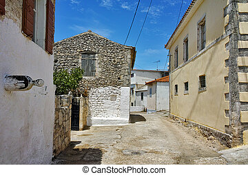 houses in Ag Leon village - Street and old houses in Ag Leon...