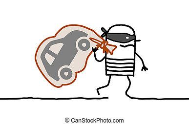 car thief running away - Hand drawn cartoon characters - car...