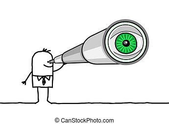 businessman & telescope  - cartoon businessman & telescope