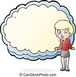woman with text space cloud - woman standing in front of...