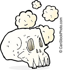 cartoon dusty old skull