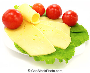 Cheese, tomatoes and lettuce