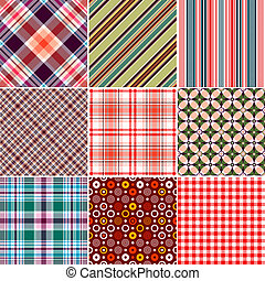 Set Seamless Patterns - Set colorful geometric seamless...